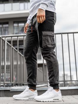 Černo-oranžové pánské jogger tepláky Bolf Q3774