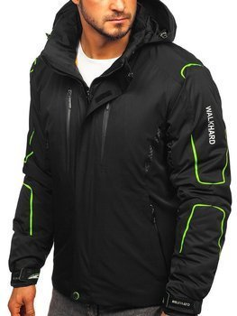 Černo-zelená pánská zimní lyžářská bunda Bolf A5625