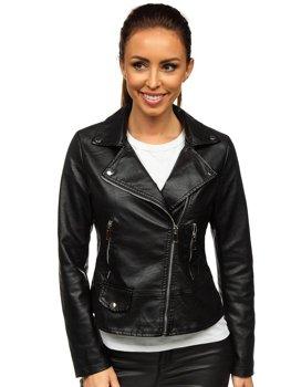Černý dámský koženkový křivák bunda Bolf LZ20010