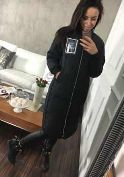 Černý dámský zimní kabát Bolf 8068