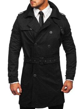 Černý pánský dvouřadý kabát s vysokým límcem a páskem Bolf 5569