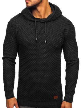 Černý pánský svetr s kapucí Bolf 7004
