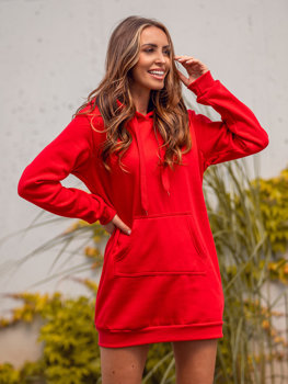 Červená dámská dlouhá mikina s kapucí Bolf YS10003
