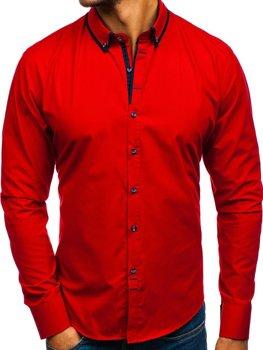 Červená pánská elegantní košile s dlouhým rukávem Bolf 8824