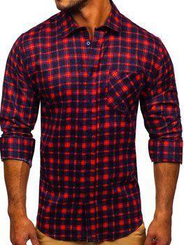 Červená pánská flanelová košile s dlouhým rukávem Bolf F9