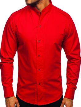 Červená pánská košile s dlouhým rukávem Bolf 5702