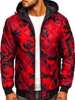 Červená pánská maskáčová sportovní přechodová bunda Bolf MY21M
