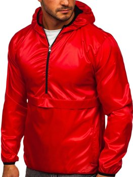 Červená pánská přechodová sportovní bunda s kapucí Bolf 5061