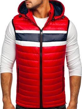 Červená pánská prošívaná vesta s kapucí Bolf 6700