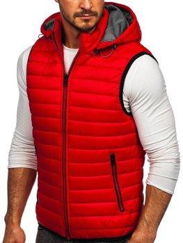 Červená pánská prošívaná vesta s kapucí Bolf 6701