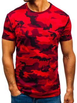 Červené pánské maskáčové tričko s potiskem Bolf S807