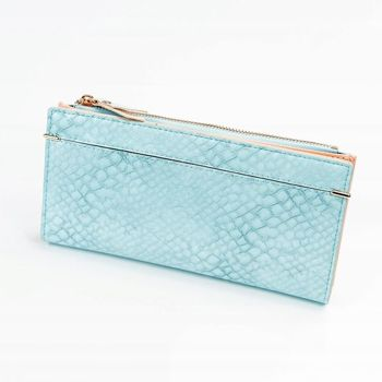 Dámská modrá koženková peněženka 1050