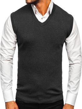 Grafitová pánská pletená vesta Bolf H1950