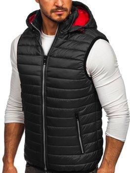 Grafitová pánská prošívaná vesta s kapucí Bolf 6701