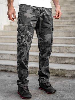 Grafitové pánské maskáčové kapsáče plus size s páskem Bolf CT8501