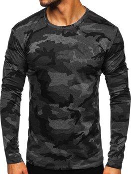 Grafitové pánské maskáčové tričko s dlouhým rukávem Bolf 2088-1