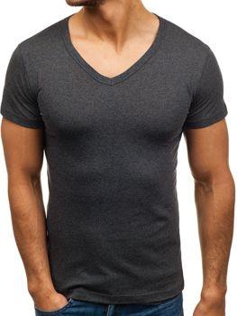 Grafitové pánské tričko bez potisku s výstřihem do V Bolf 1002