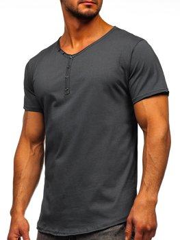 Grafitové pánské tričko bez potisku s výstřihem do V Bolf 4049