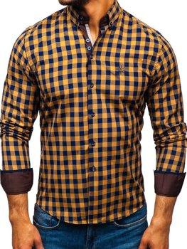 Hnědá pánská kostkovaná košile s dlouhým rukávem Bolf 5816-A