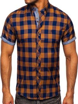 Hnědá pánská kostkovaná košile s krátkým rukávem Bolf 6522