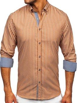 Hnědá pánská pruhovaná košile s dlouhým rukávem Bolf 20731