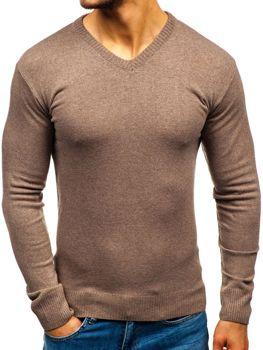 Hnědý pánský svetr s výstřihem do V Bolf 6002 f02fcc273f
