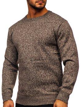 Hnědý pánský zateplený svetr na zip Bolf 7M117
