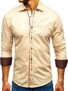 Kamelová pánská elegantní košile s dlouhým rukávem Bolf 1769