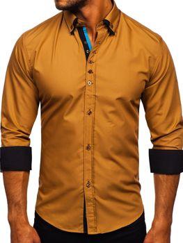 Kamelová pánská elegantní košile s dlouhým rukávem Bolf 3708