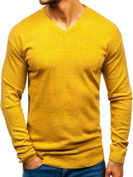 Kamelový pánský svetr s výstřihem do V Bolf 6002