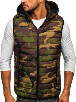 Khaki pánská prošívaná vesta s kapucí Bolf 6701