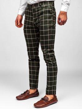 Khaki pánské textilní karované chino kalhoty Bolf 0002