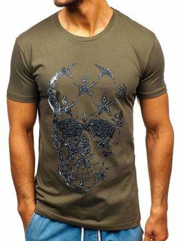 Khaki pánské tričko s potiskem Bolf 301