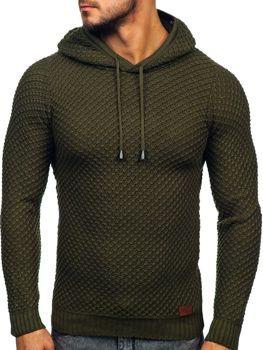Khaki pánský svetr s kapucí Bolf 7004