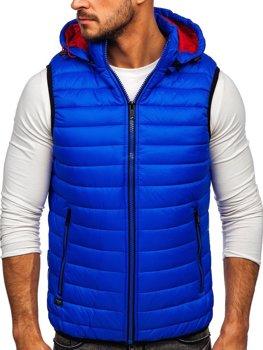 Kobaltová pánská prošívaná vesta s kapucí Bolf 6701
