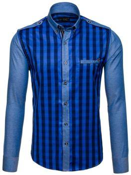 Královsky modrá pánská kostkovaná košile s dlouhým rukávem Bolf 7704