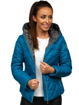 Modrá dámská pro?ívaná p?echodová bunda s kapucí Bolf A5701