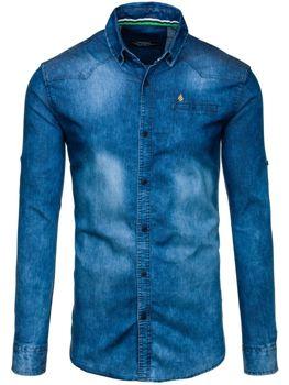 Modrá pánská džínová košile s dlouhým rukávem Bolf 0321-1