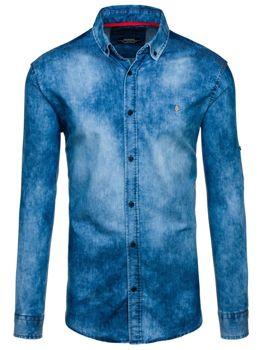 Modrá pánská džínová košile s dlouhým rukávem Bolf 0533-1
