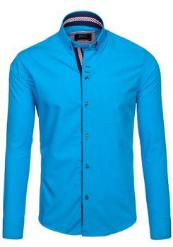 Modrá pánská elegantní košile s dlouhým rukávem Bolf 6948