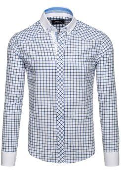 Modrá pánská elegantní kostkovaná košile s dlouhým rukávem Bolf 6959