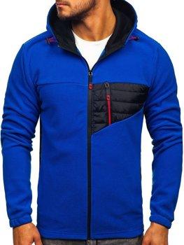 Modrá pánská fleecová mikina s kapucí Bolf YL011