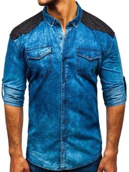 54846b9e4dd6 Modrá pánská vzorovaná košile s dlouhým rukávem Bolf 0517
