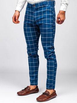 Modré pánské textilní karované chino kalhoty Bolf 0002