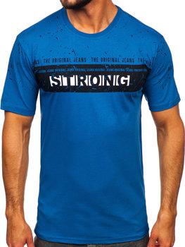 Modré pánské tričko s potiskem Bolf 14204