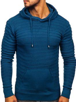 Modry pánsky svetr s kapucí Bolf 7003