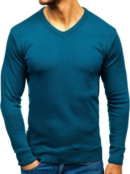 Modrý pánský svetr s výstřihem do V Bolf 6002 f72f6dfc67