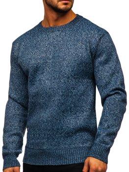 Modrý pánský zateplený svetr na zip Bolf 7M117