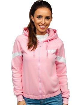 Růžová dámská mikina na zip s kapucí Bolf KSW3013