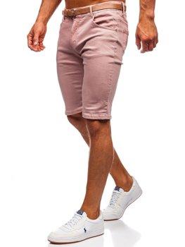 Růžové pánské džínové kraťasy s páskem Bolf KG3585-145